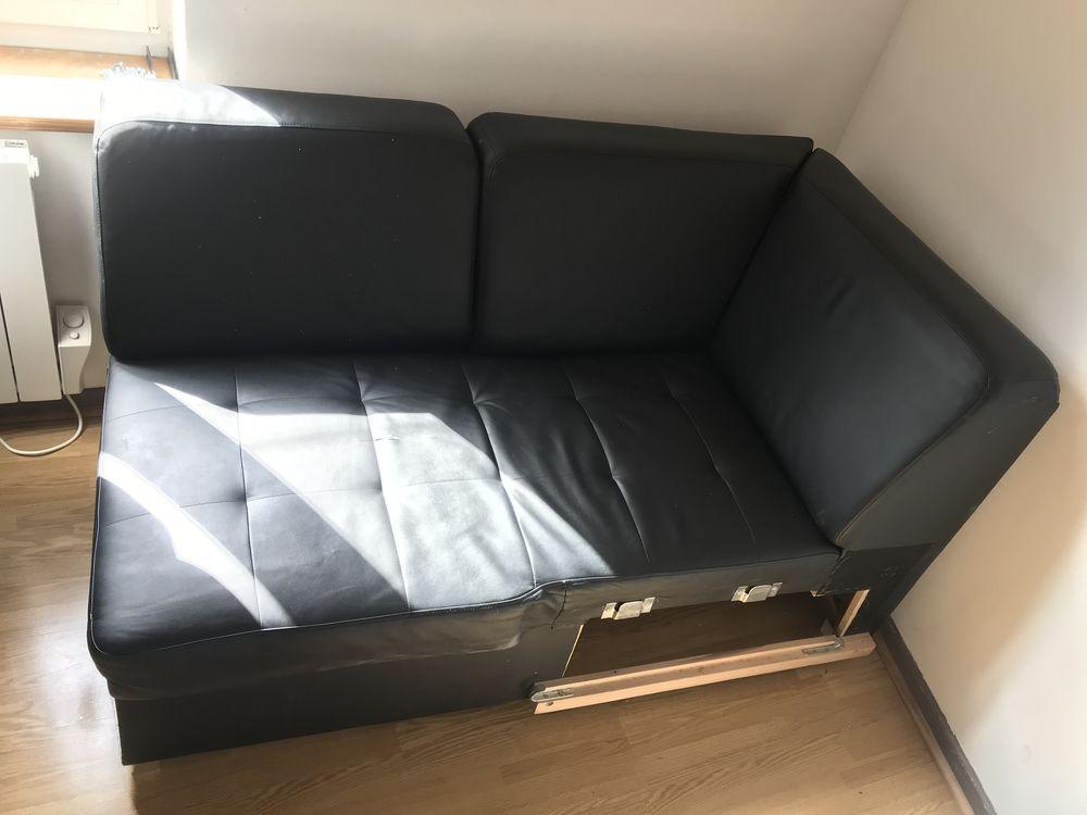 Canapé d'angle noir convertible lit 70 Gondecourt (59)