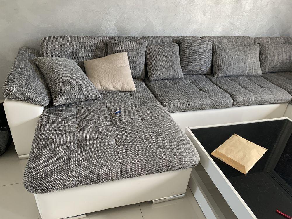 Canapé d'angle panoramique en U - en simili et tissu - Gris 499 Fontenay-le-Fleury (78)
