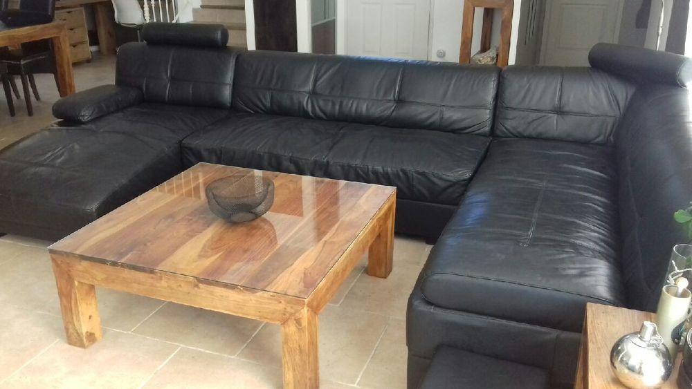 Canape d'angle panoramique cuir noir 550 Lodève (34)