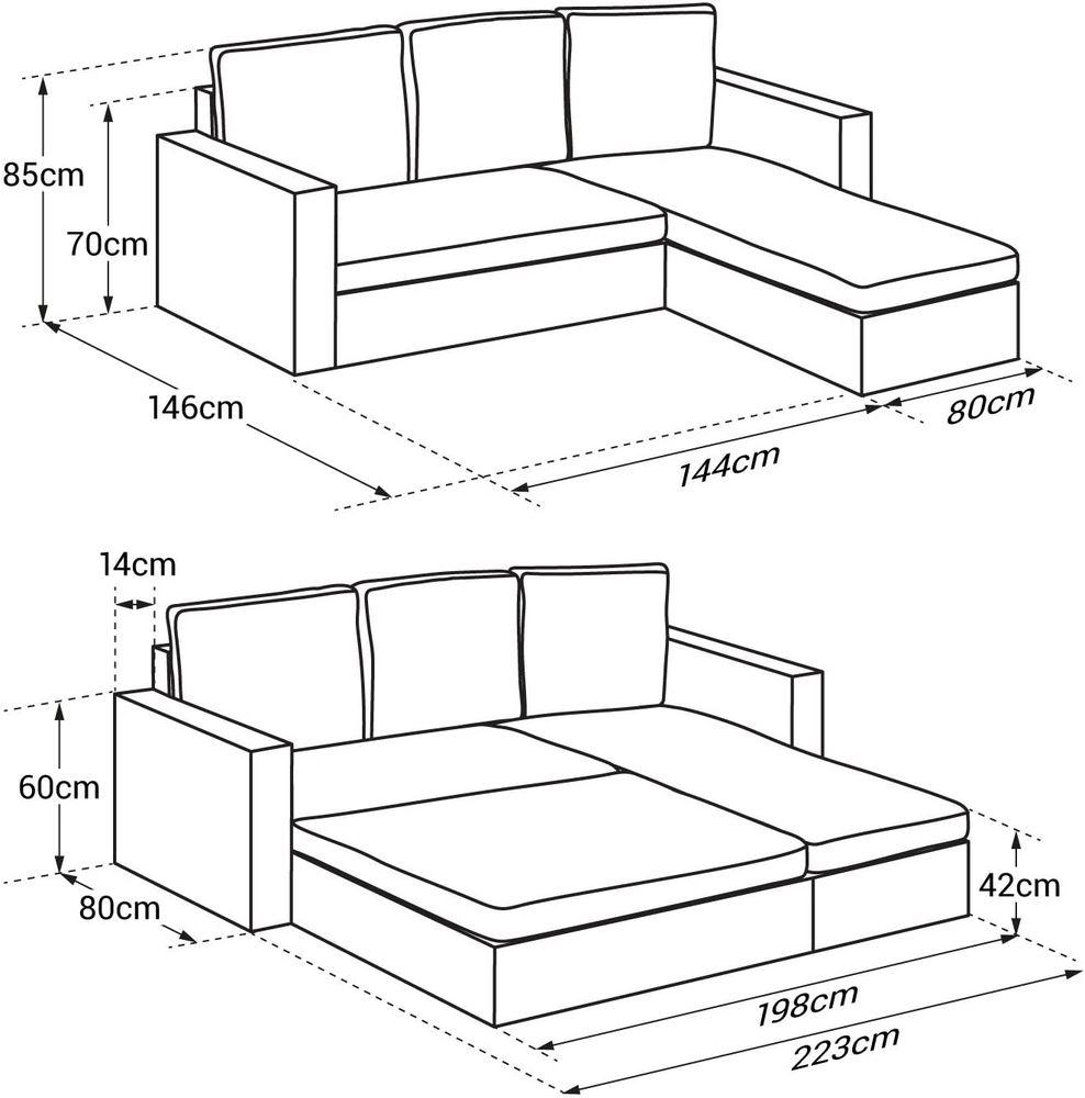Canapé d'angle 4 places + coffre de rangement 350 Plaisir (78)
