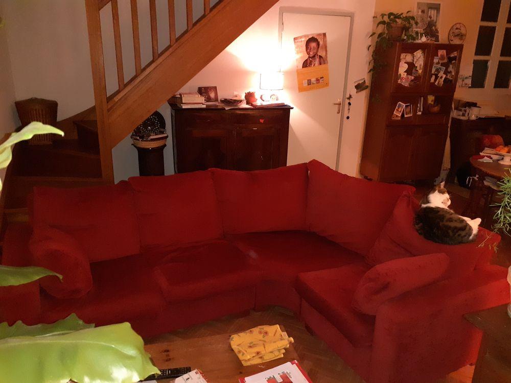 Canapé d'angle rouge en tissu 100 Seix (09)