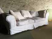 Canapé blanc AMPM en tissu 150 Ferrières-sur-Ariège (09)