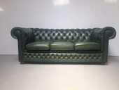Canapé chesterfield cuir vert anglais vintage 1400 Guécélard (72)