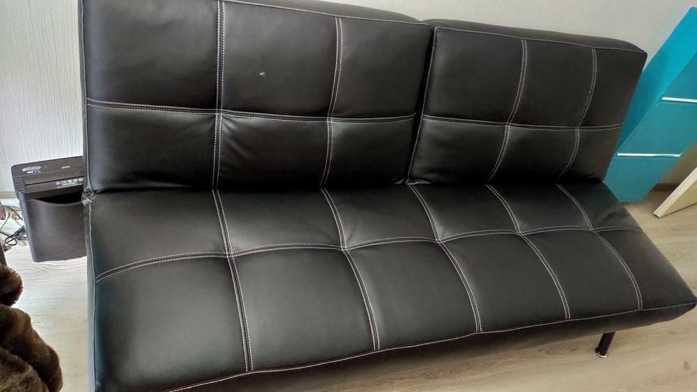 Canapé clic-clac d'occasion en cuir noir 90 Annemasse (74)