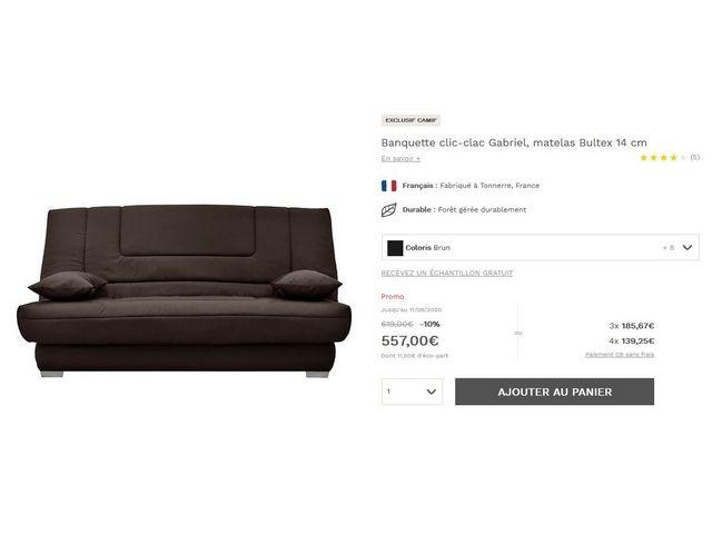 canapé clic clac haut de gamme bultex neuf valeur 610€ 500 Gradignan (33)
