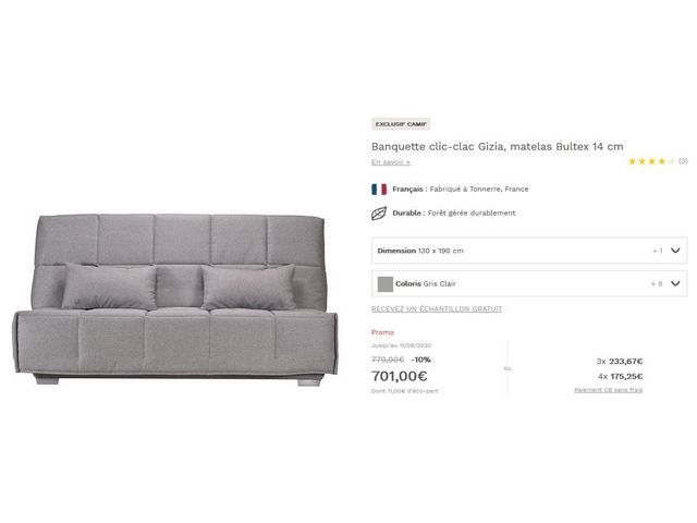 Canapé clic clac bultex neuf val 820€ 650 Gradignan (33)
