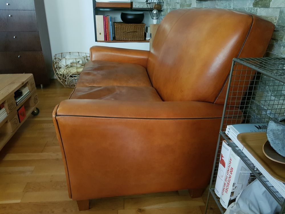 Canapé club cuir marron vintage  400 Magny-en-Vexin (95)