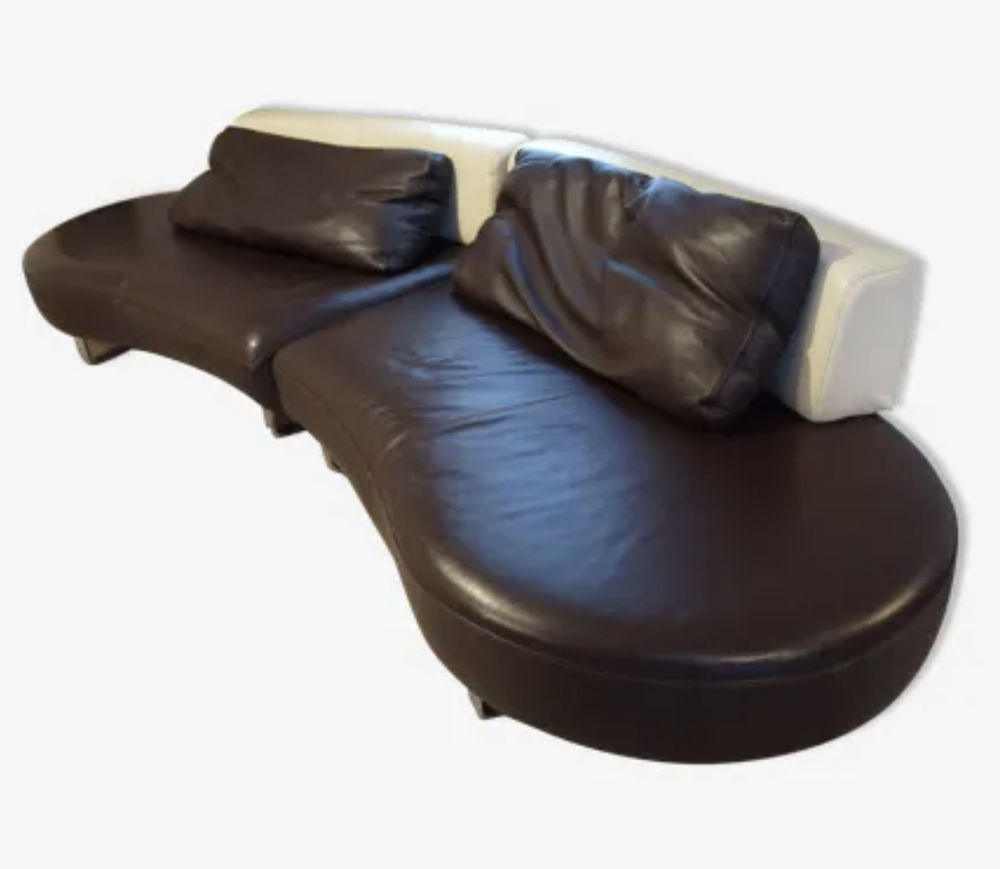 Canapé contemporain  cuir demi lune mandala Steiner+ pouf 680 Bretigny (21)