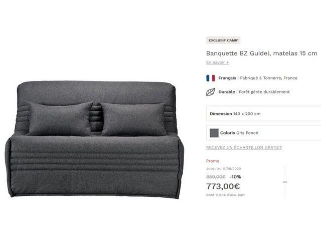 canapé convertible BZ bultex neuf valeur magasin 910 € 700 Gradignan (33)