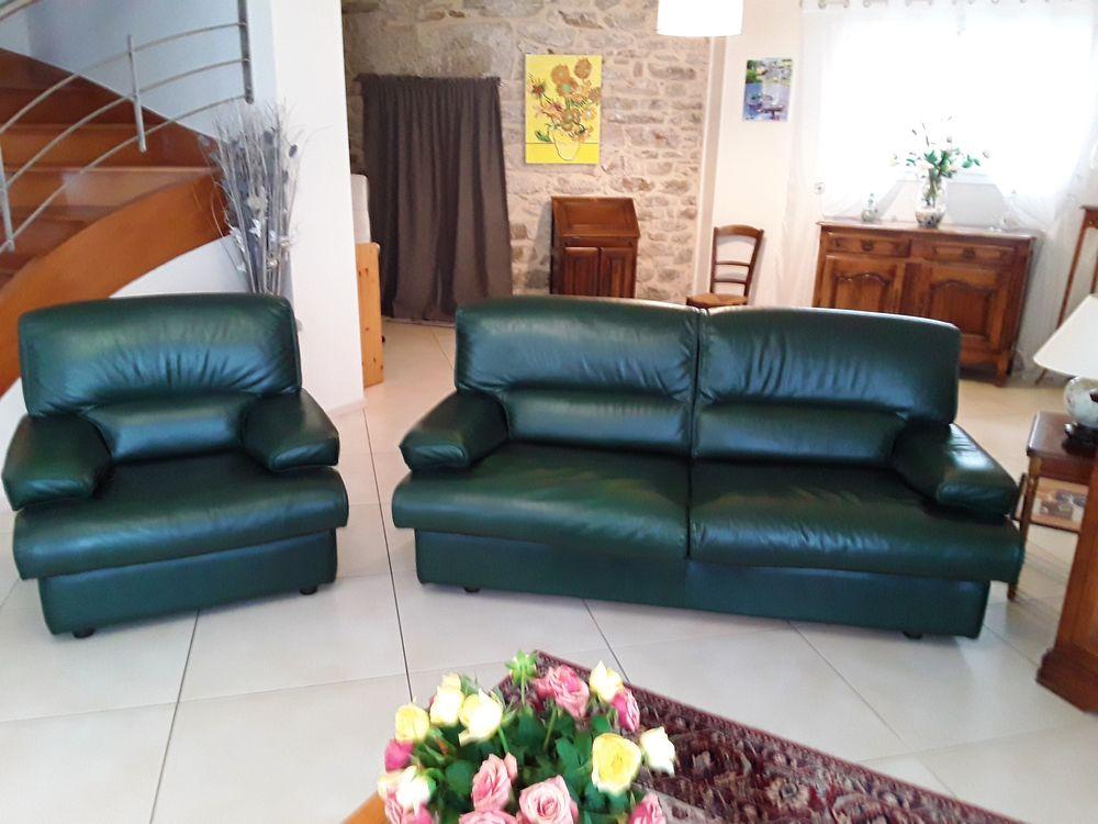 CANAPE CONVERTIBLE + 1 FAUTEUIL cuir vert  390 La Baule-Escoublac (44)