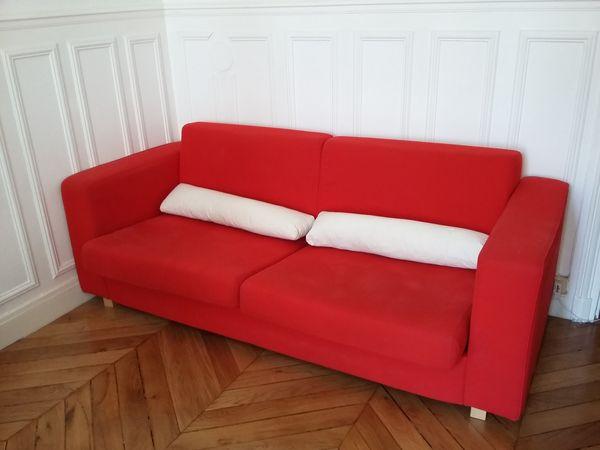 plus récent e83cd 1f2d6 Canapé convertible rouge 3 places