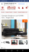 Canapé cuir angle gauche 530 Drancy (93)