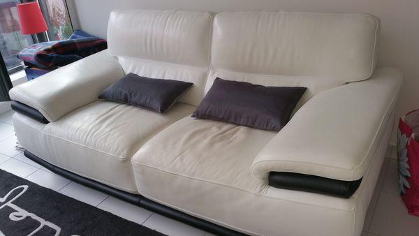 Achetez canap cuir blanc 3 quasi neuf annonce vente for Canape 06000