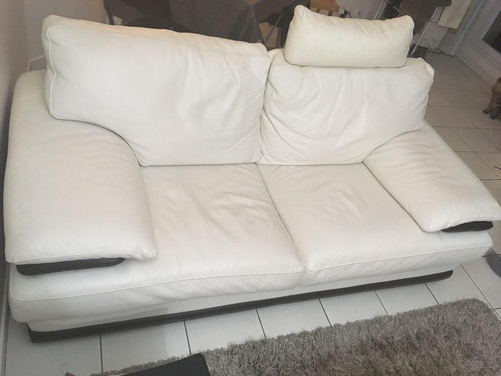 Canapé cuir 2pl. blanc et marron 0 Paris 11 (75)