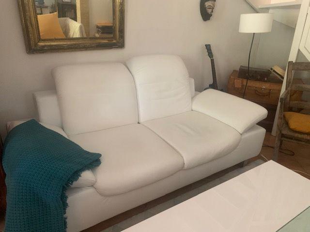 Canapé cuir blanc - 2 places 350 Nimes (30)