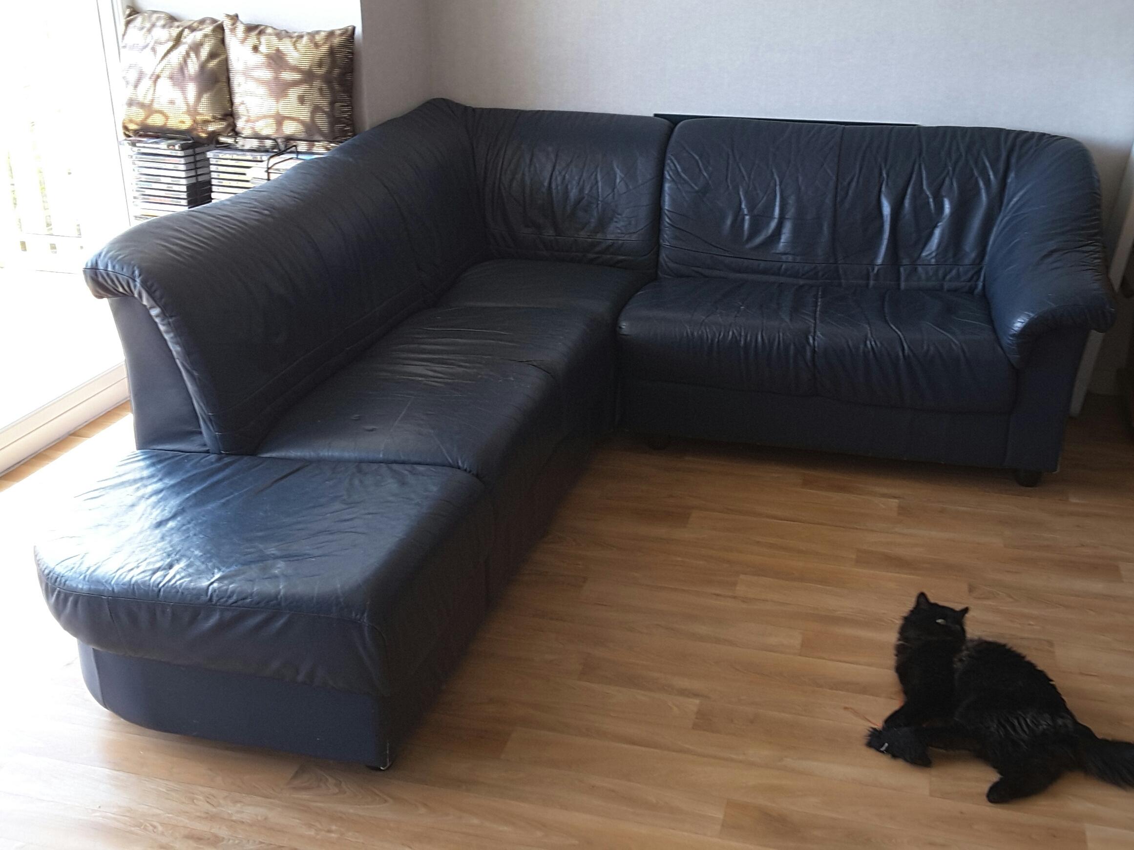 achetez canap cuir bleu occasion annonce vente angers. Black Bedroom Furniture Sets. Home Design Ideas