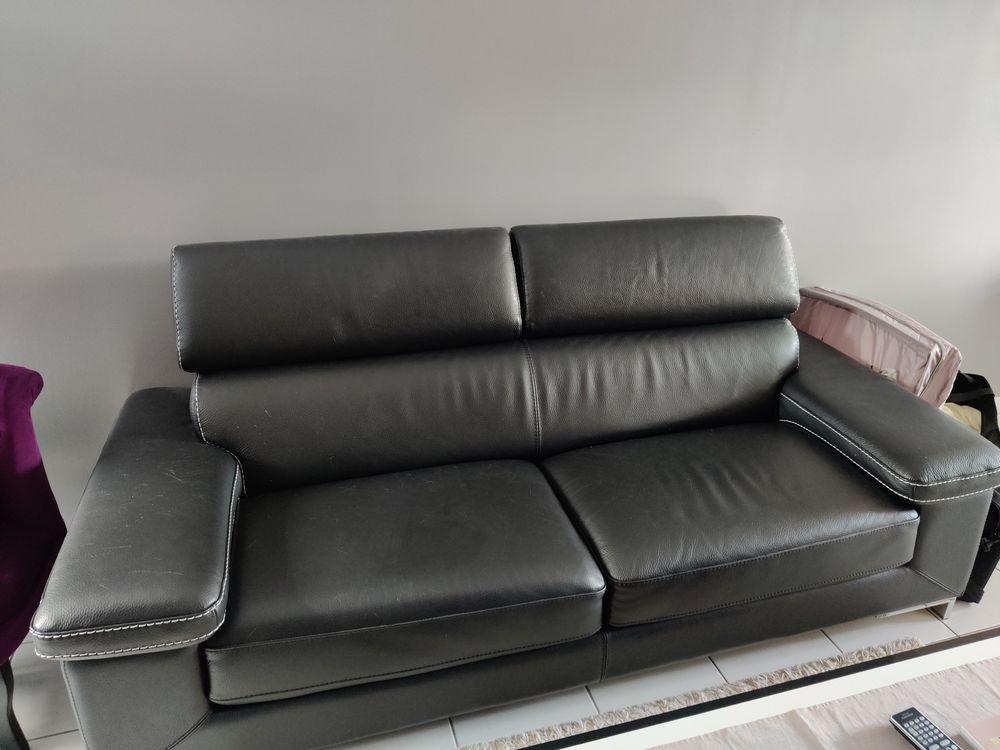 Canapé cuir de buffles 3 places noir 280 Cormeilles-en-Parisis (95)