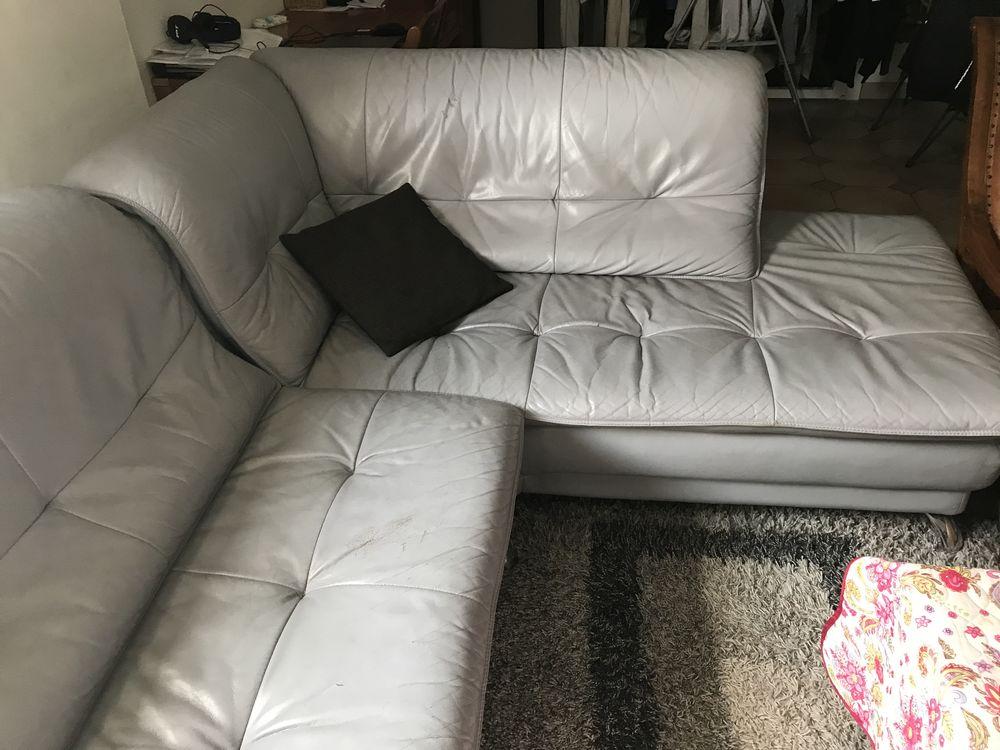 canape en cuir couleur gris bonne état au prix de 350e. 350 Bassens (33)