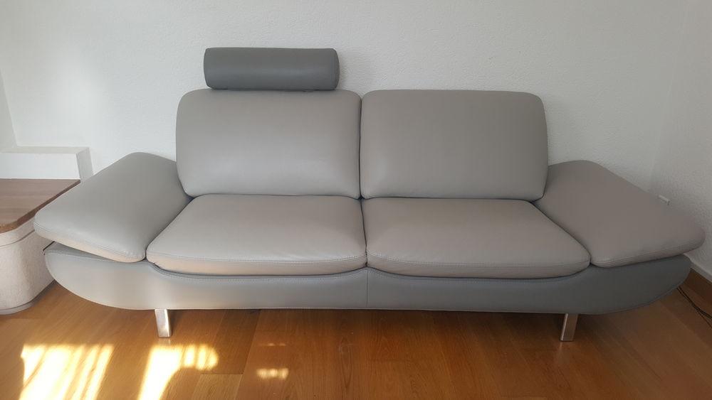 Canapé en cuir, gris 350 Ornex (01)