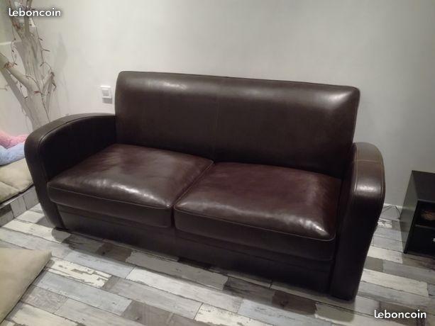 canapé en cuir marron - convertible 550 Mauguio (34)