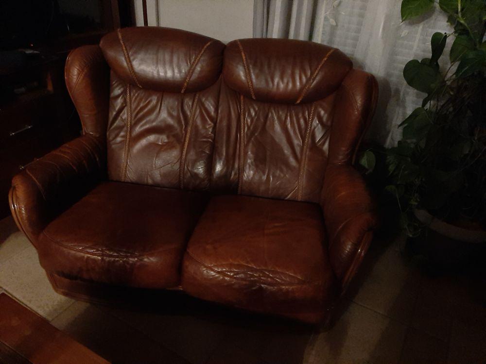 canapé cuir marron deux places 300 Damville (27)