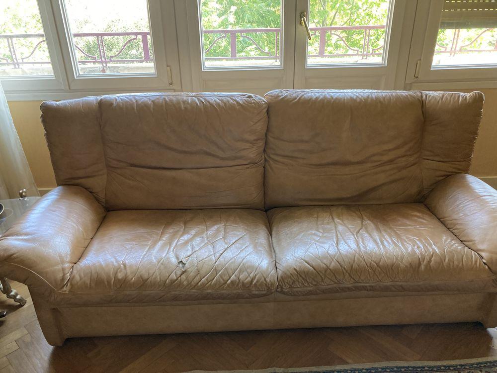 canapé cuir marron clair et 2 fauteuils 0 Annemasse (74)