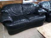 Canapé cuir noir 2 places 150 Toulouse (31)