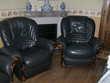 canapé cuir noir 3 places - convertible + 2 gros fauteuils Meubles