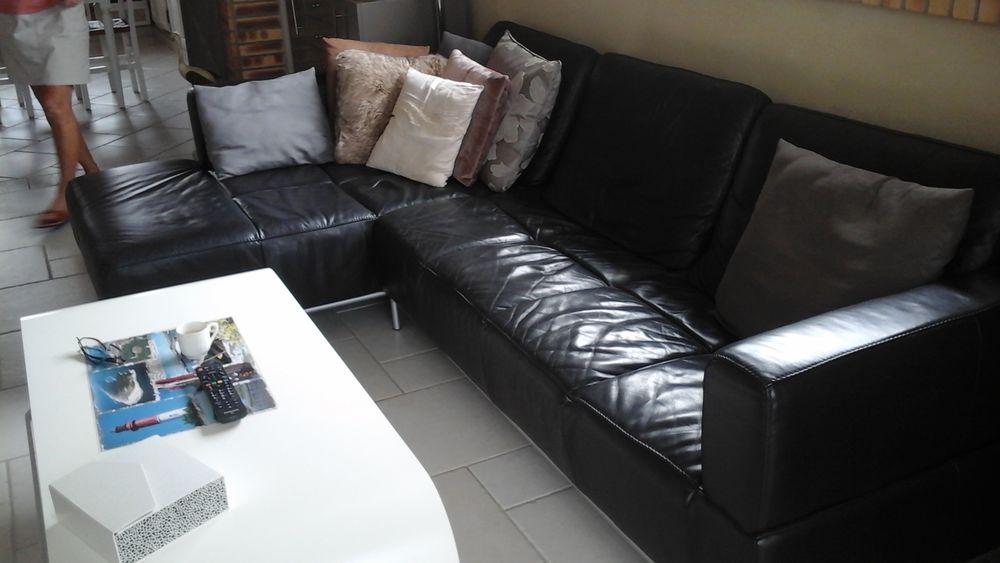 canapé cuir noir 500 Gujan-Mestras (33)