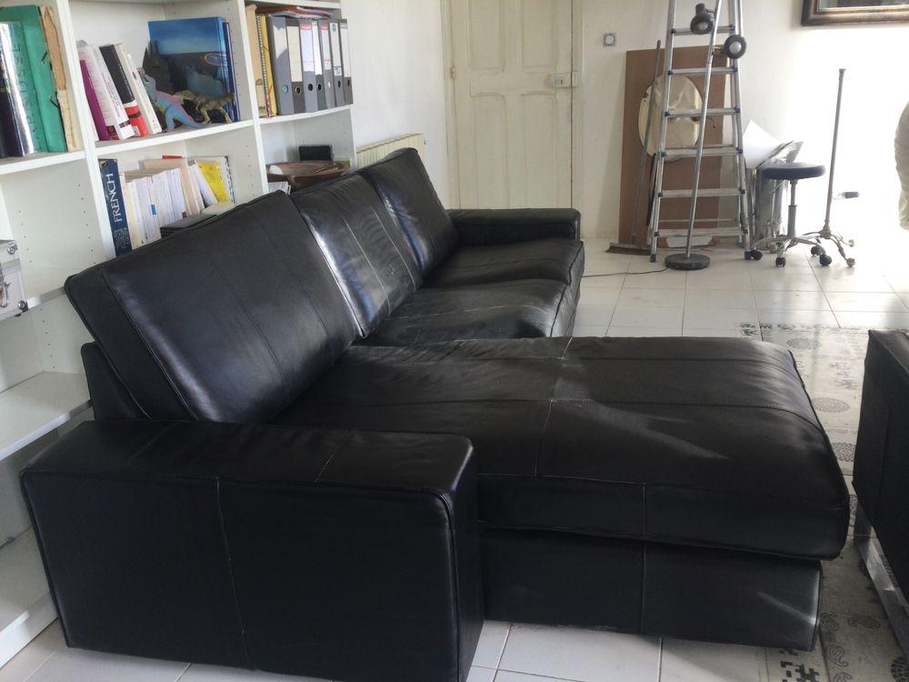 Canapé cuir noir avec méridienne  0 Nîmes (30)