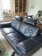 canapé en cuir noir trois places Meubles