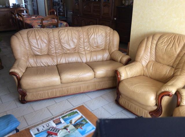 canapé cuir 3 places +  fauteuils assortis 250 Saint-Julien-de-Concelles (44)
