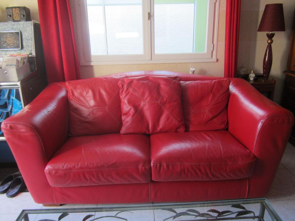 canapé cuir rouge 400 Bordeaux (33)