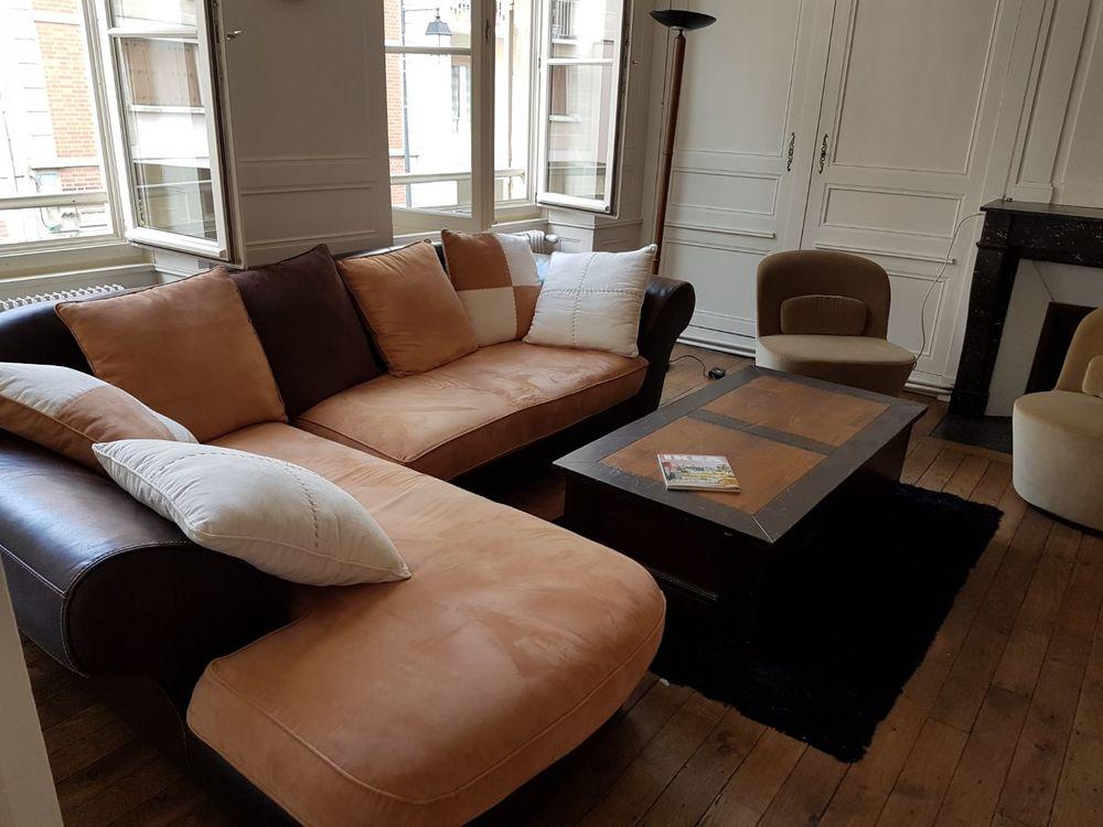 Canapé cuir et tissu daimlys avec méridienne très bon etat 500 Courbevoie (92)