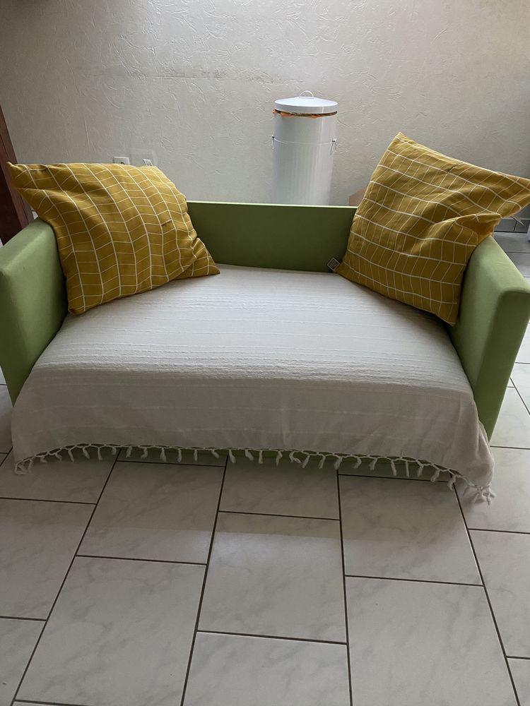 canapé lit depliable vert pomme u avec coussins 40 Oberlauterbach (67)