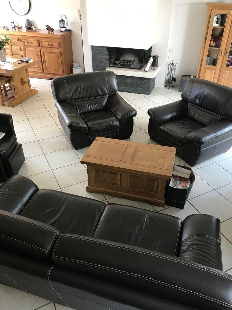 canapé et deux fauteuils cuir vachette epais supiqueres bla 900 Jouy-le-Moutier (95)