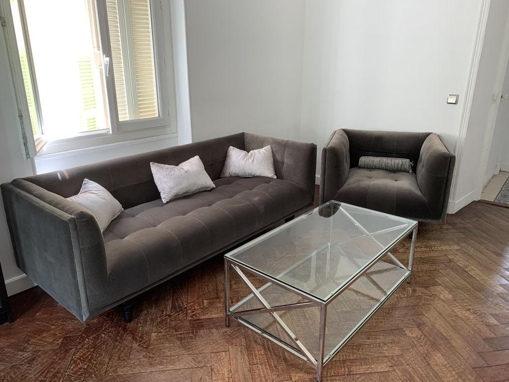 Canapé et fauteuil gris velours 700 Menton (06)