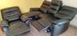 canapé et fauteuil relax électrique en cuir noir Meubles