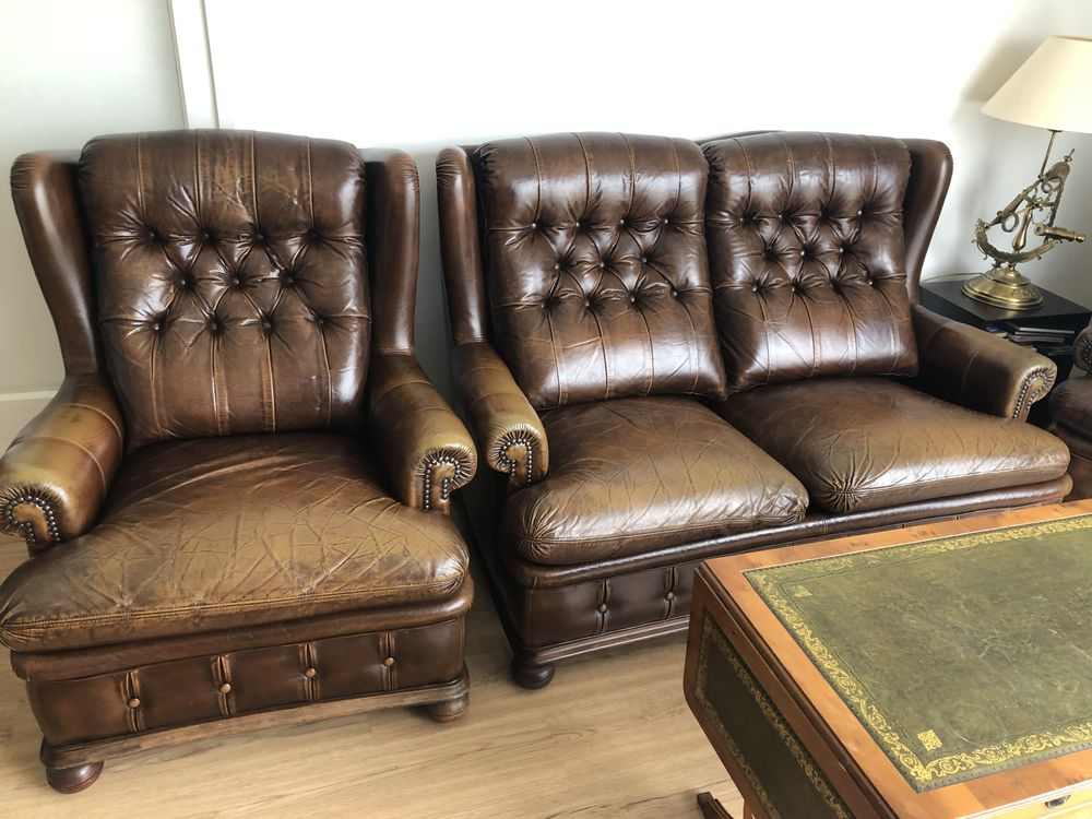 Canapé + 2 fauteuils style anglais- cuir capitonné - chester 900 Le Pouliguen (44)