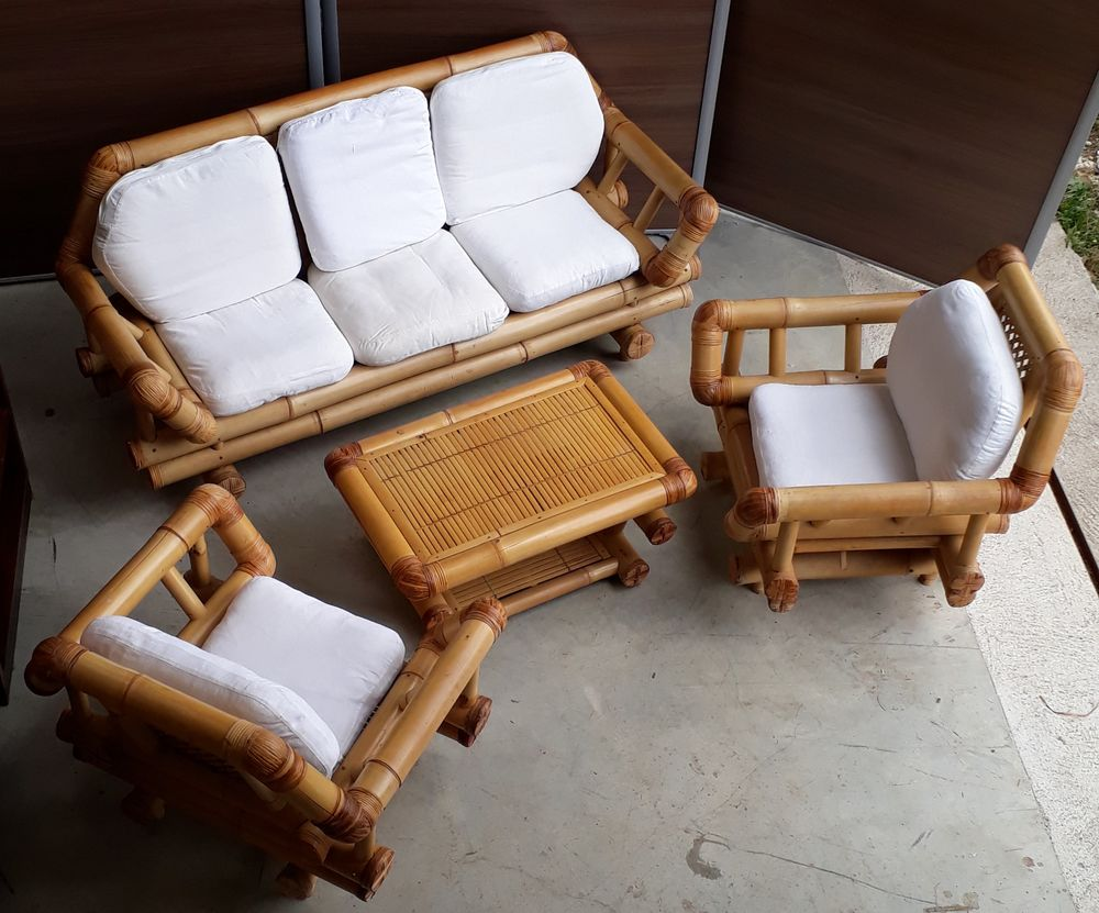 canape 2 fauteuils +table bambou 1000 Augy (89)