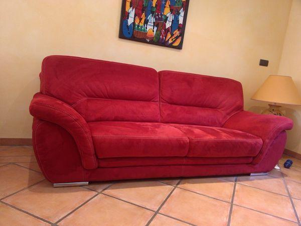 canapé fixe  rouge 3 places microfibre cause déménagement 650 Combefa (81)