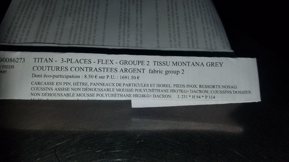 canapé gris 3 places tissu MONTANA GREY 650 Roanne (42)