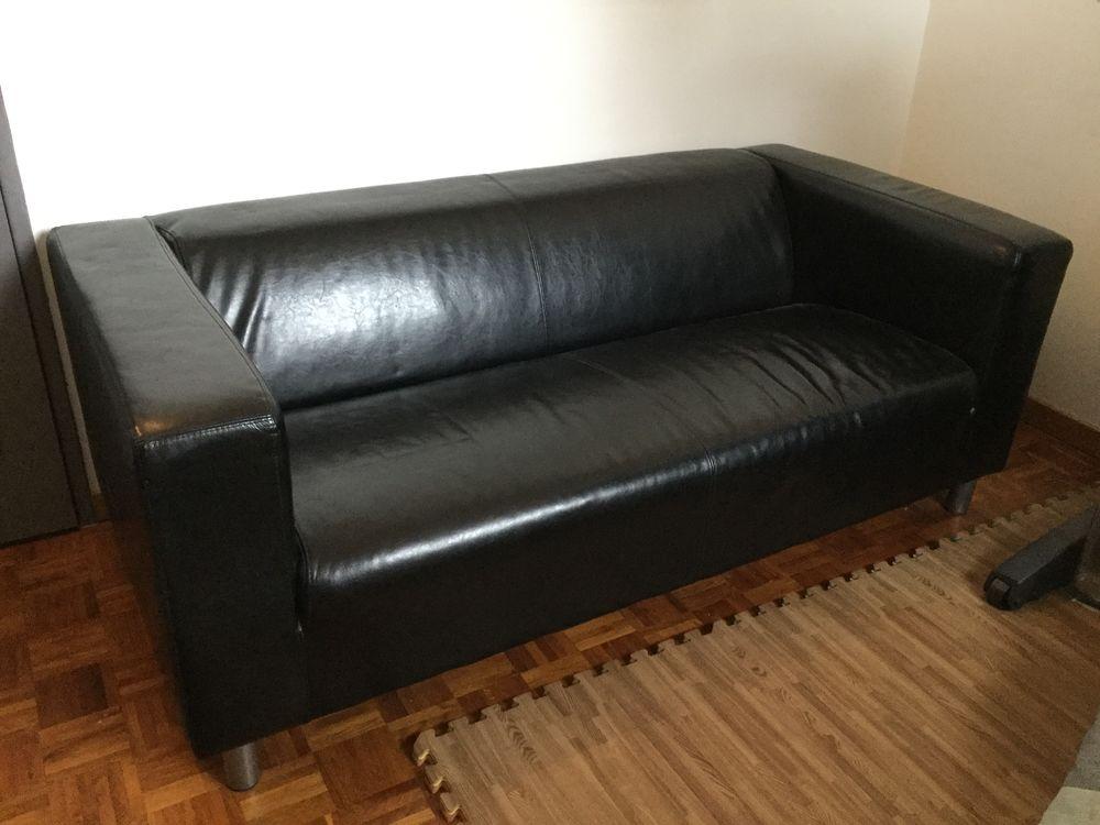 Canapé IKEA en simili cuir noir 160 La Frette-sur-Seine (95)