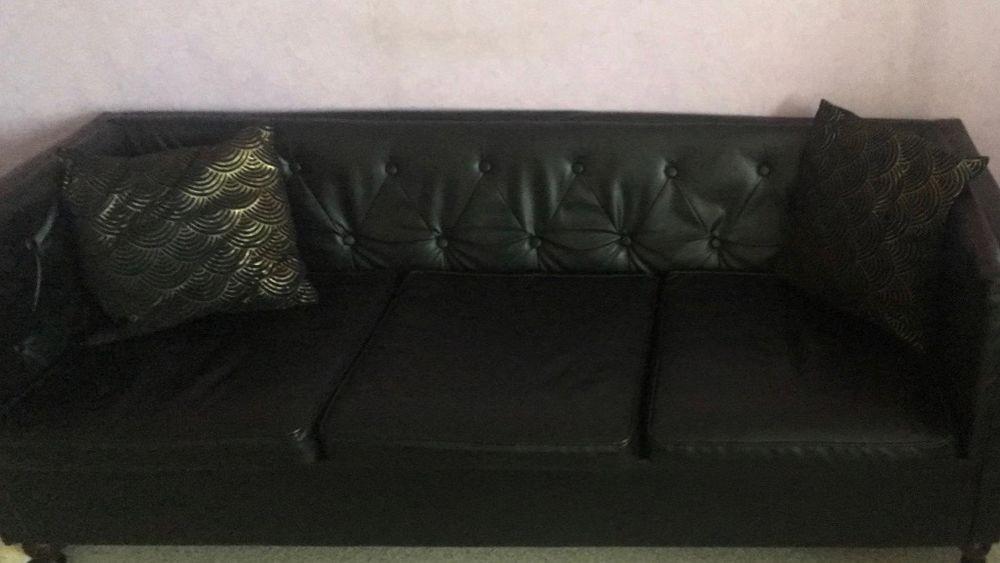 canapé noir 3 places en simili cuir  80 Oullins (69)