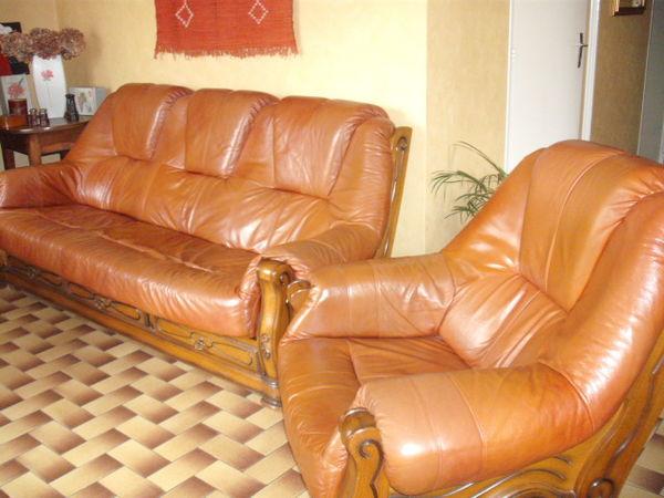 Achetez Canape Places Occasion Annonce Vente à Graulhet - Canapé cuir 3 places fauteuil