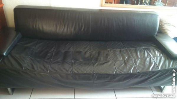 Canapé 3 places en cuir noir 90 Tourcoing (59)