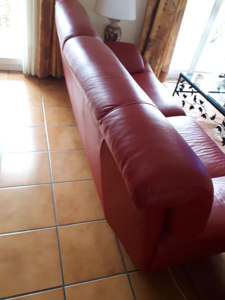 canapé 3 places cuir vachette pigmentée madras rouge 2 300 Fonbeauzard (31)