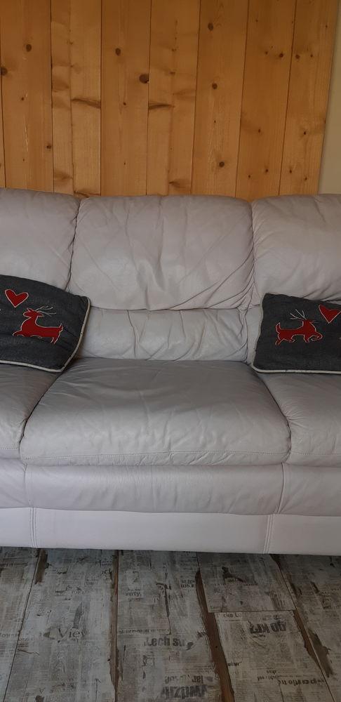 Canapé 3 places en cuir ecru 0 Pruillé-le-Chétif (72)