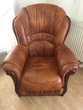 Canapé 3 places en cuir marron clair Plus 1 fauteuil