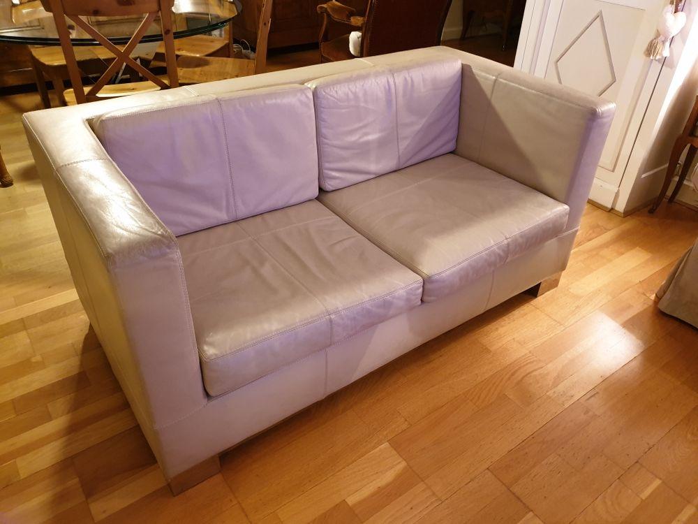 Canapé 2 places   1 fauteuil cuir beige 300 Boulogne-Billancourt (92)